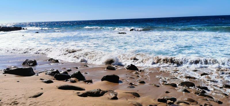 Seascape of waves crashing on the rocks royalty free stock photography