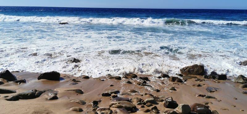 Seascape of waves crashing on the rocks royalty free stock photo