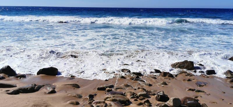 Seascape of waves crashing on the rocks royalty free stock images