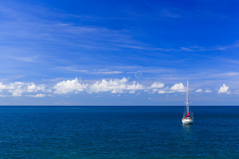 Download Seascape with yacht stock image. Image of tropical, sunny - 28229939