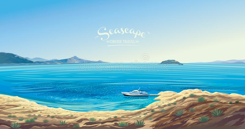 Seascape with the yacht presumably the Mediterranean. Seascape with the yacht symbolizing the marine leisure. Seashore presumably the Mediterranean vector illustration