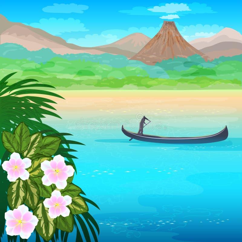 Seascape z łodzią i kwiatami royalty ilustracja