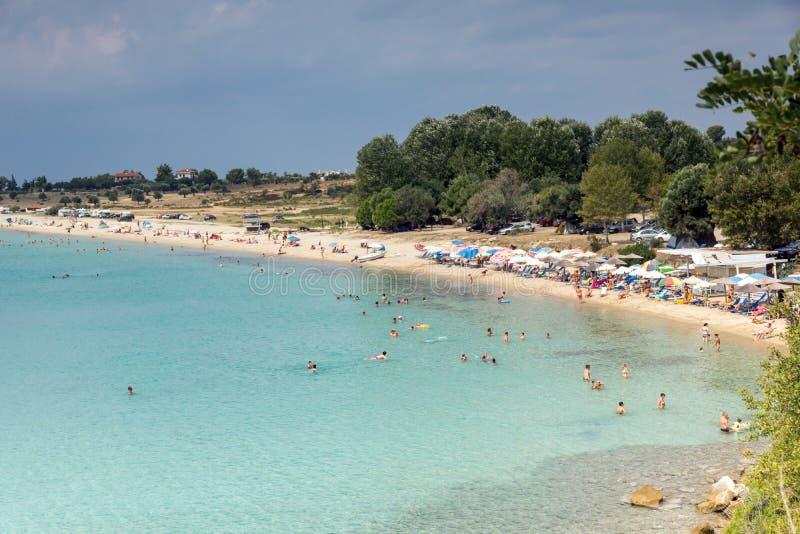 Seascape z ażio Ioannis plażą przy Sithonia półwysepem, Chalkidiki, Środkowy Macedonia, Grecja zdjęcie royalty free