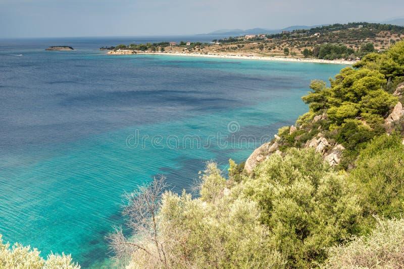 Seascape z ażio Ioannis plażą przy Sithonia półwysepem, Chalkidiki, Środkowy Macedonia, Grecja fotografia stock