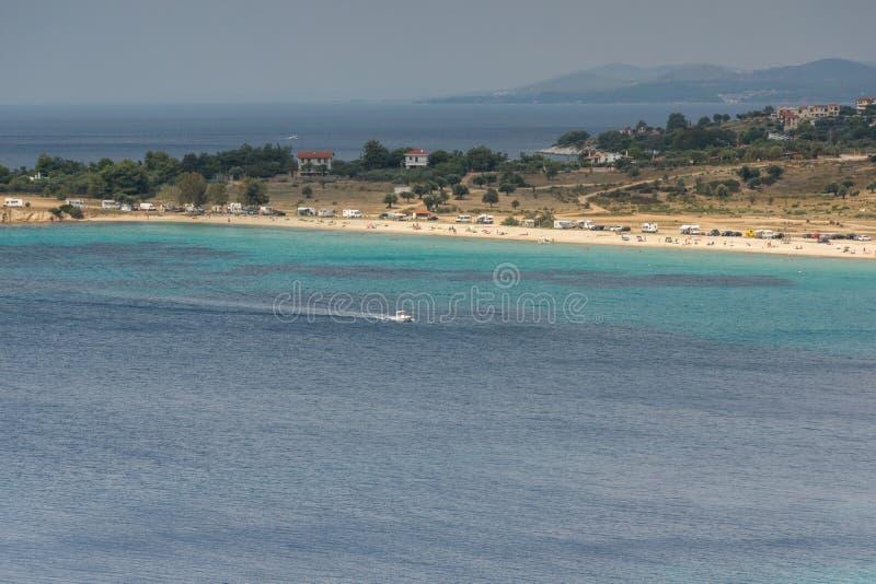 Seascape z ażio Ioannis plażą przy Sithonia półwysepem, Chalkidiki, Środkowy Macedonia, Grecja fotografia royalty free