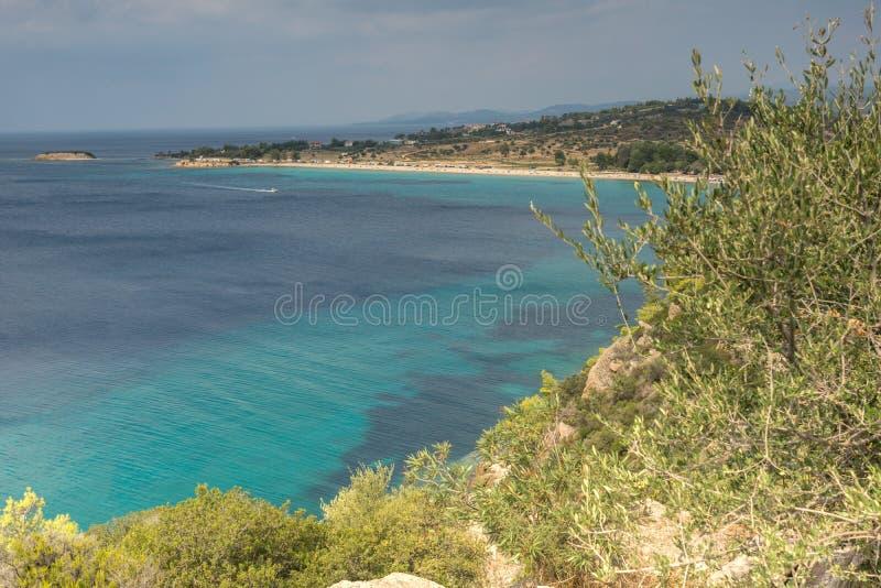Seascape z ażio Ioannis plażą przy Sithonia półwysepem, Chalkidiki, Środkowy Macedonia, Grecja obraz stock