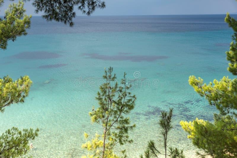 Seascape z Elia plażą przy Sithonia półwysepem, Chalkidiki, Środkowy Macedonia, Grecja obrazy stock