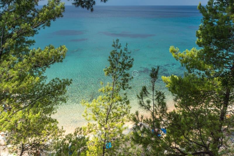 Seascape z Elia plażą przy Sithonia półwysepem, Chalkidiki, Środkowy Macedonia, Grecja obrazy royalty free
