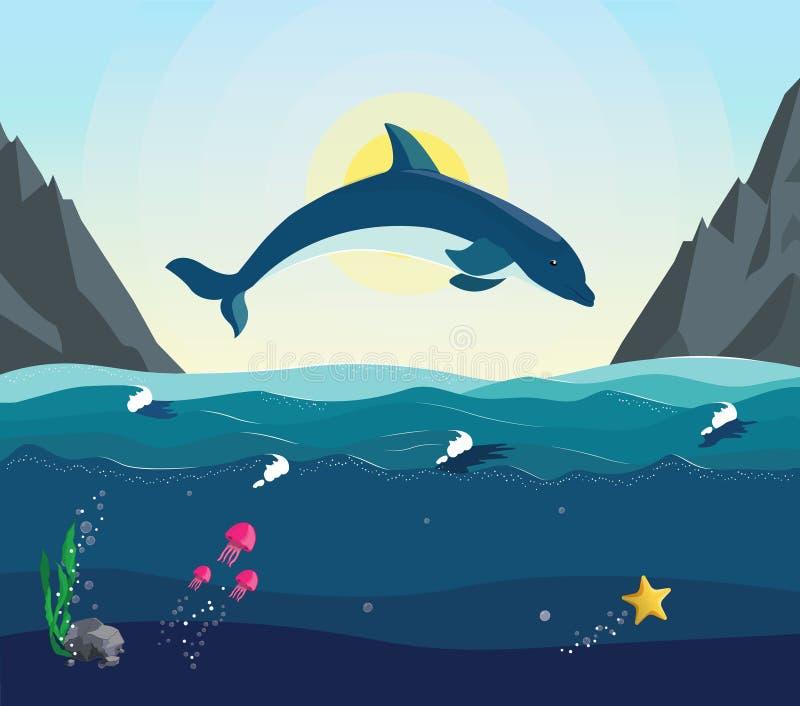 Seascape z podwodnym światem w oceanie ilustracji