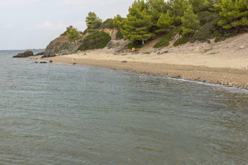 Seascape z Vatopedi plażą przy Sithonia półwysepem, Chalkidiki, Środkowy Macedonia, Grecja zdjęcie royalty free