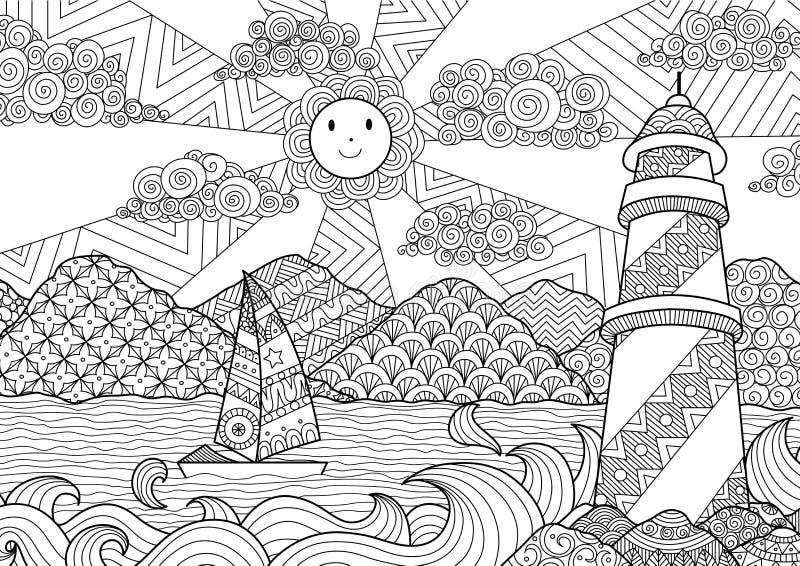 Seascapelinje konstdesign för färgläggningboken för vuxen människa, anti-spänningsfärgläggning - materiel