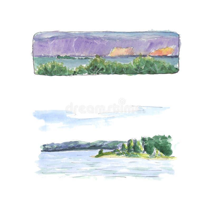 Seascapes åskväder, solnedgångblixtvattenfärg royaltyfri illustrationer