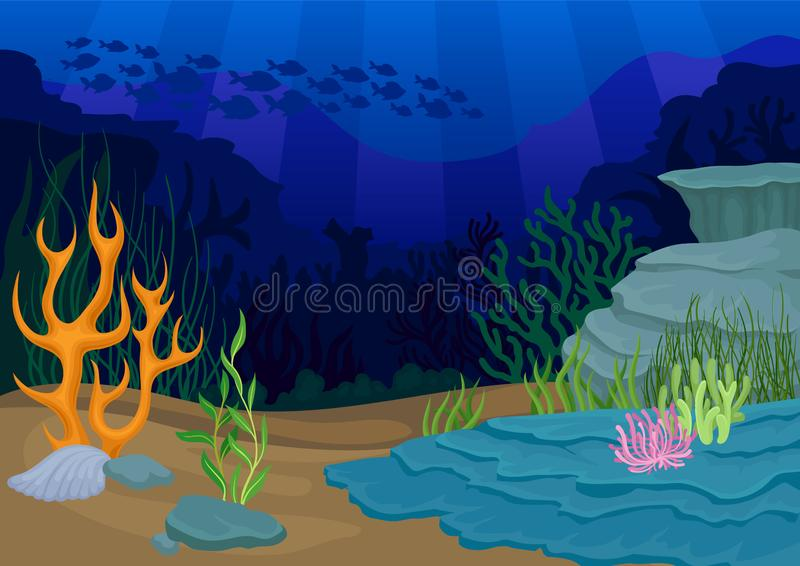 Seascapes έννοια προφορικοί σκόπελος και σχολείο των ψαριών απεικόνιση αποθεμάτων