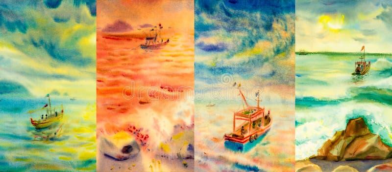 Seascapes картины акварели на различном времени года иллюстрация вектора