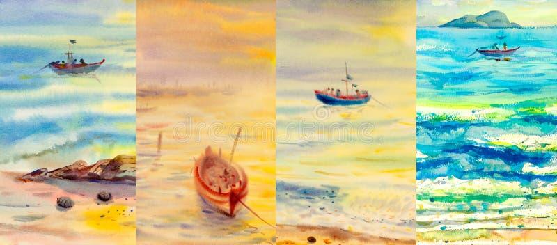 Seascapes картины акварели на различном времени года бесплатная иллюстрация