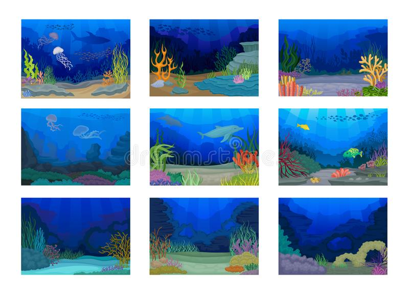 Seascapes collection. Ocean and underwater world. Vector illustration. stock illustration