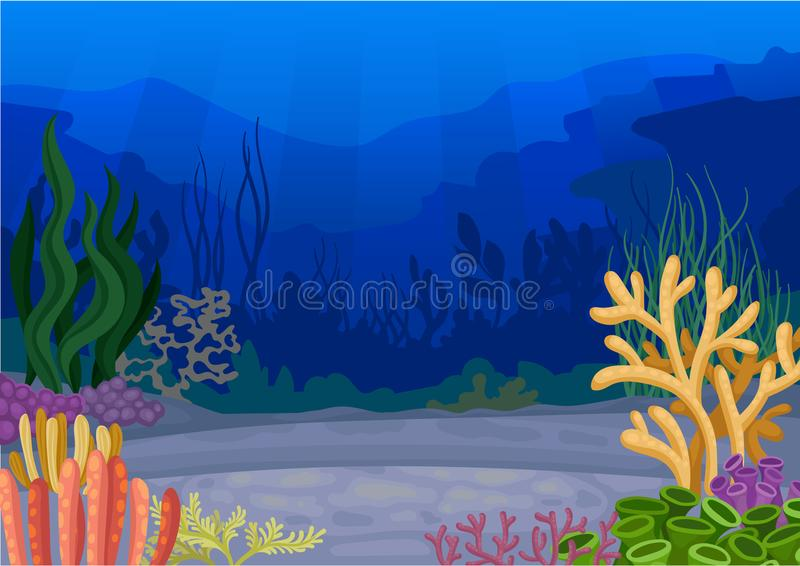 Seascapes concept. Ocean and underwater world. Vector illustration. royalty free illustration