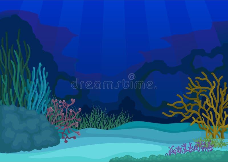 Seascapes concept. Underwater world. Vector flat illustration. royalty free illustration