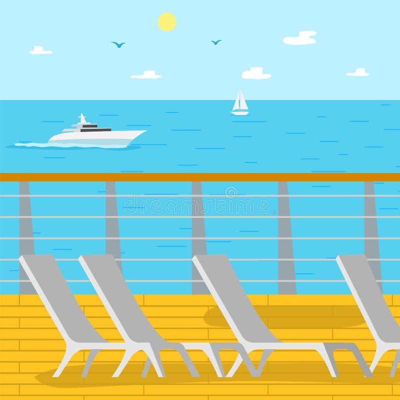 Seascapeskepp och vatten- sikt, Chaise Longues vektor illustrationer