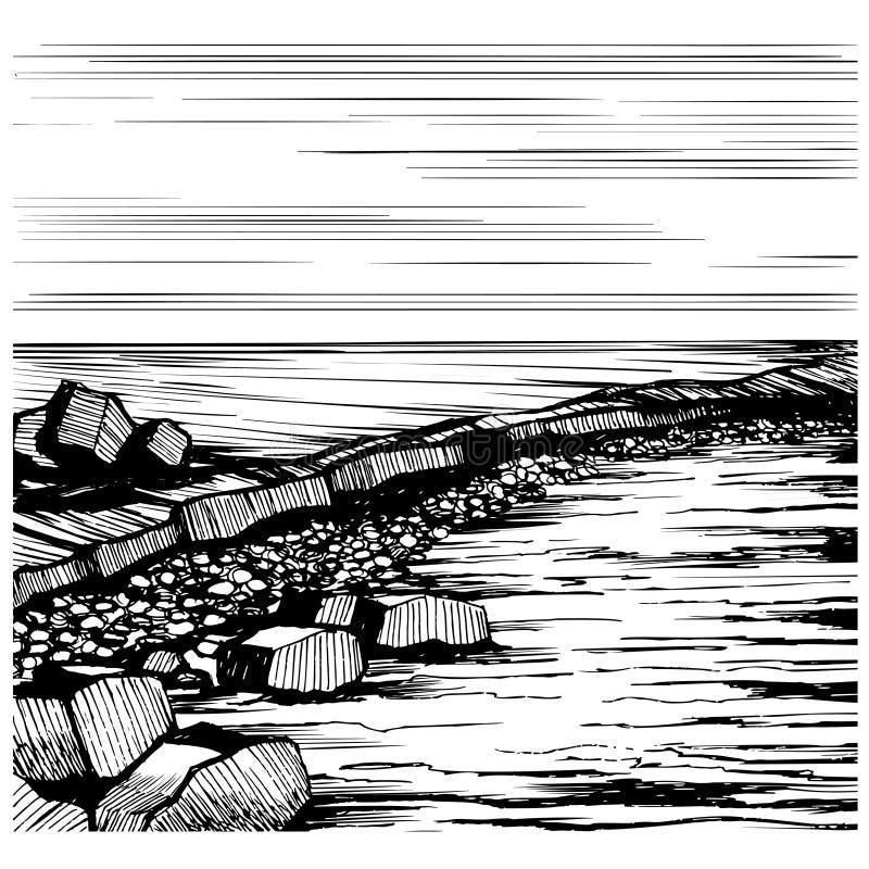 Seascapestranden, vektor skissar stock illustrationer