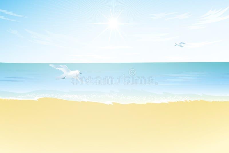 Seascapevektorillustration sandigt strandhav royaltyfri illustrationer