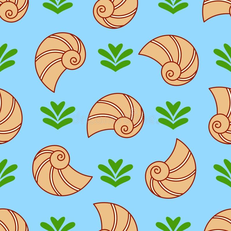 Seashell вектора и картина морской водоросли безшовная Текстура природы моря бесплатная иллюстрация