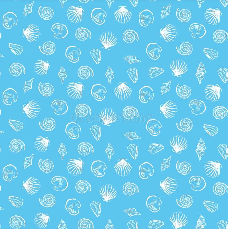 Seashell Blue Seamless Pattern Stock Image - Image: 58259721