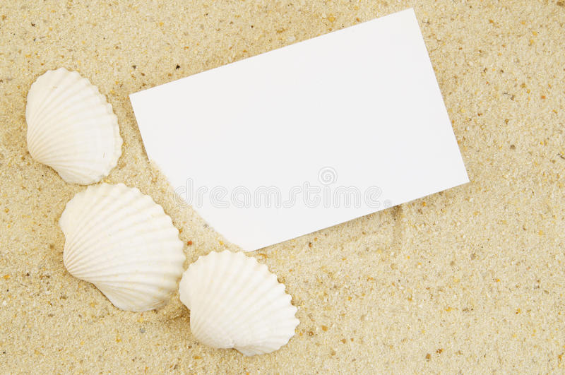 Download Seashell And Card On Sand Stock Photography - Image: 30641272