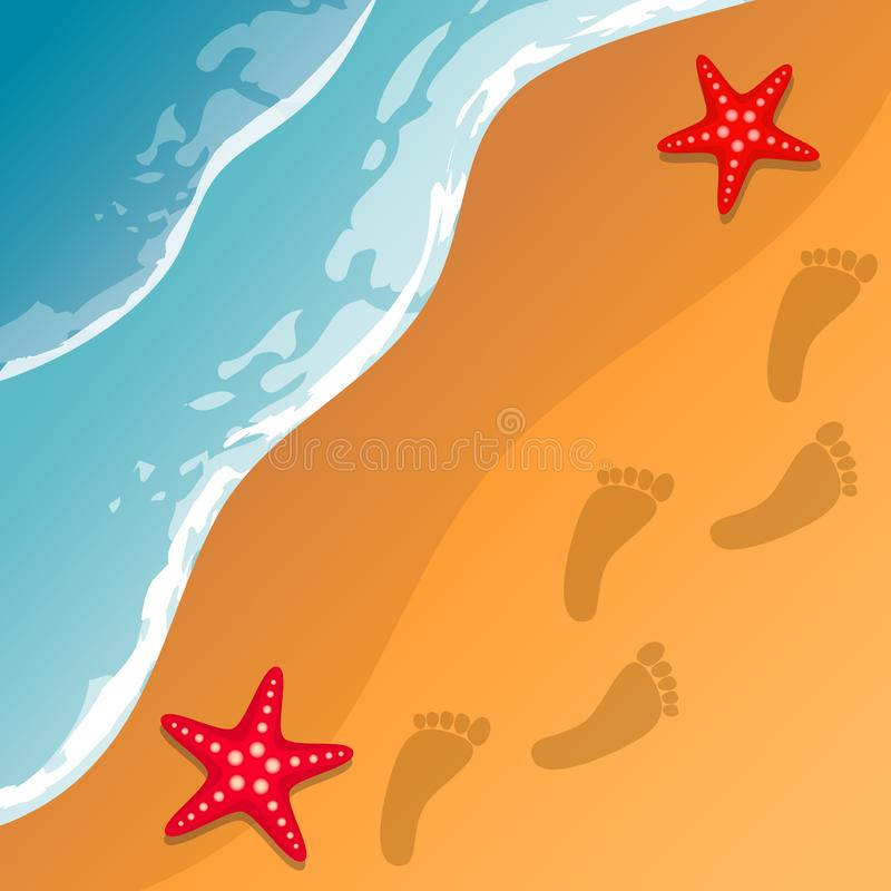 Seashell do Scallop na cor-de-rosa Costa de mar As ondas e a areia Estrelas de mar Traços de pés na areia Vetor ilustração stock