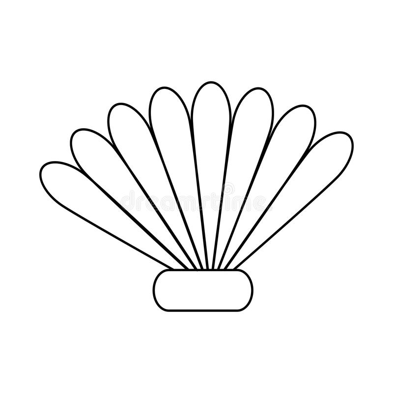Seashell icon in outline style royalty free illustration