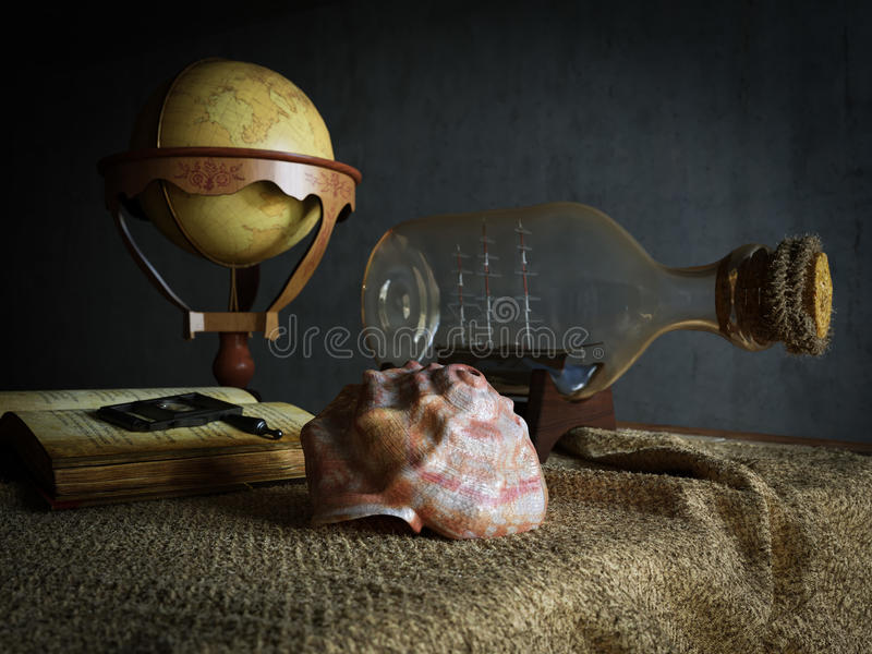 Seashell in interior scene with globe and ship in the bottle. Concept photo royalty free stock photos