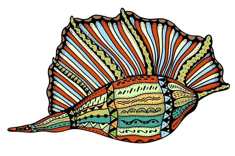 Seashell kreskowa sztuka ilustracja wektor