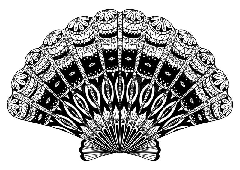 Seashell kreskowa sztuka dla kolorystyki książki, t projekta koszulowy skutek, logo, tatuaż i w ten sposób dalej royalty ilustracja