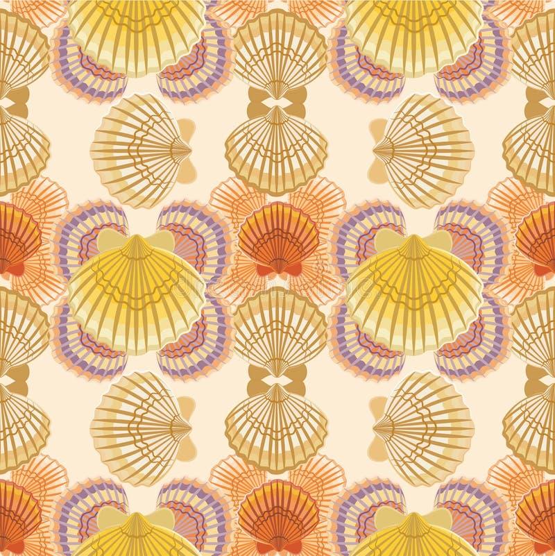 Seashell marine pattern vector illustration