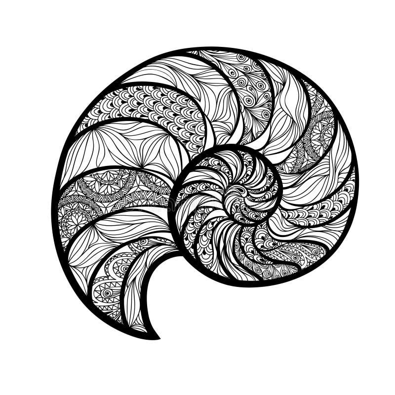 Seashell nautilus. Sea shell set engraving illustration is. Seashell nautilus. Sea shell set ingraved illustration isolated on white background. Doodle sea shell royalty free illustration