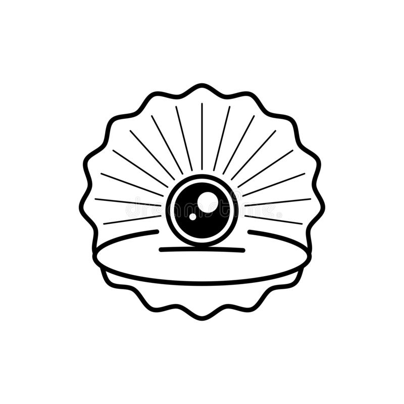 Seashell With Pearl Outline Icon Ready For Your Design, Greeting Card vector illustration