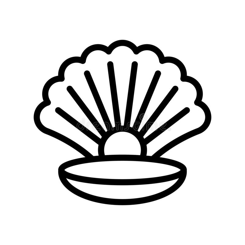 Seashell with pearl vector, tropical related line style icon stock illustration