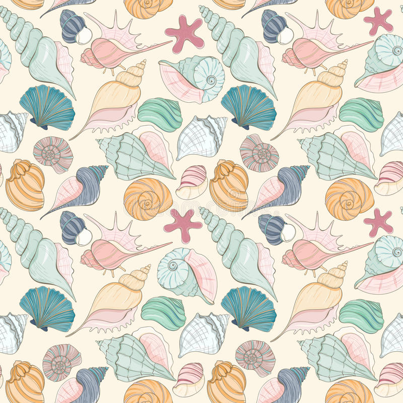 Seashell seamless pattern. Summer paradise holiday marine background. Seashell seamless pattern can be used for website background, wrapping paper, textile vector illustration