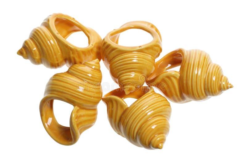 Seashell-Serviette-Halterungen stockbilder