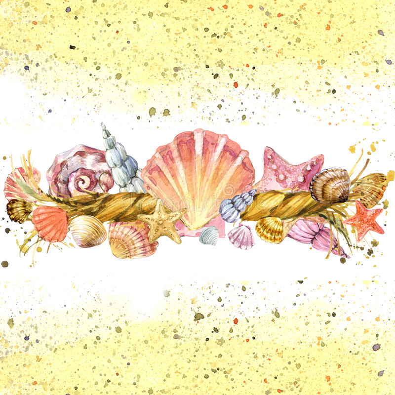 Seashell and ship rope background with sea sand. Watercolor illustration background vector illustration