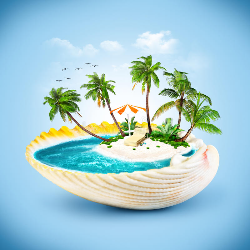 Seashell. Tropical island in the seashell. Travelling, vacation stock illustration