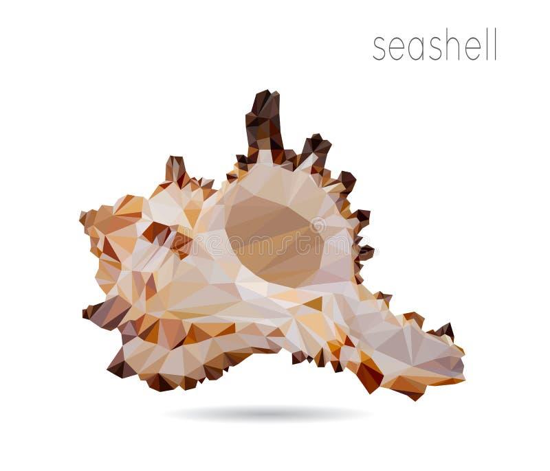 Seashell, geometric polygonal object vector illustration