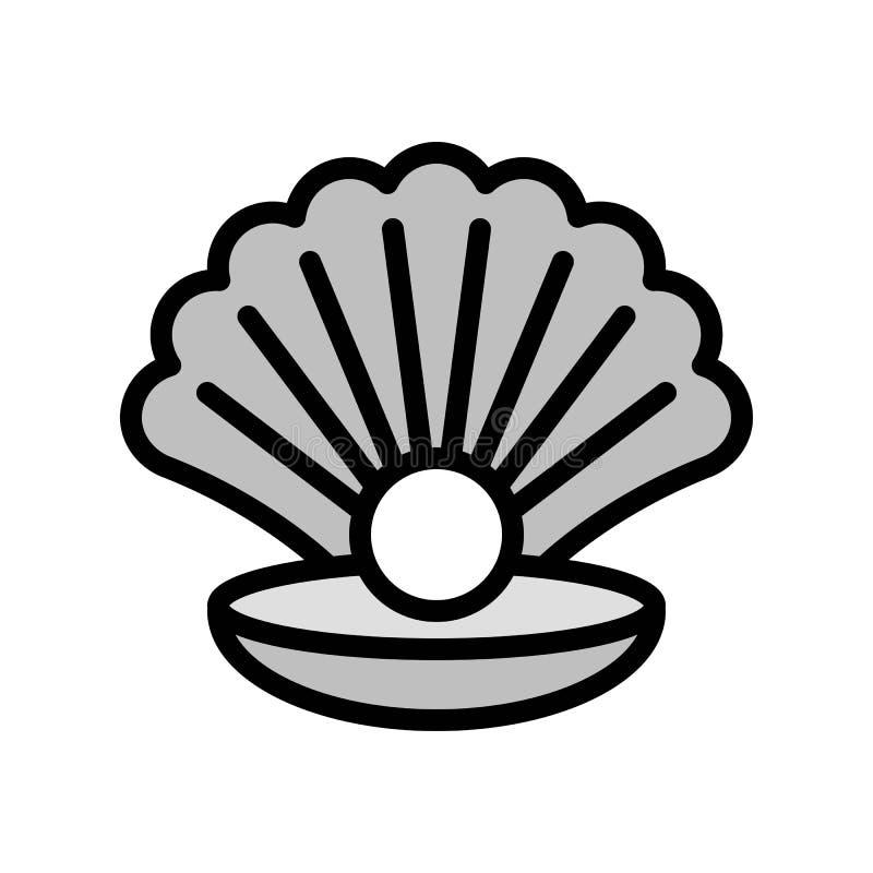Seashell z perełkowym wektorem, tropikalna powiązana wypełniająca stylowa ikona royalty ilustracja