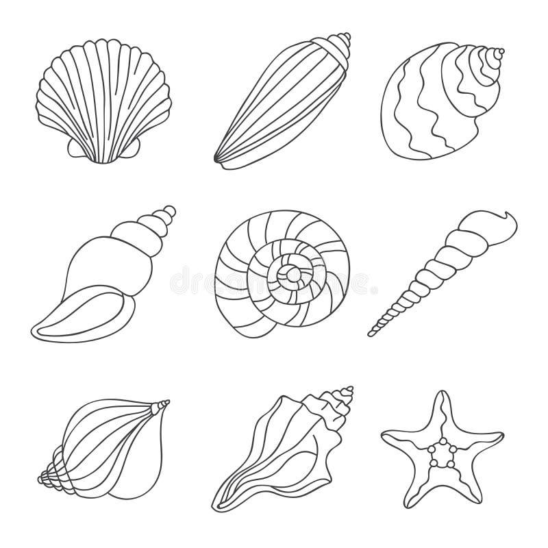seashells łatwe tło ikony zamieniają przejrzystego cienia wektor ilustracji