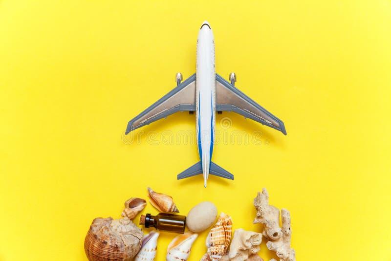 Seashells и самолет на желтой предпосылке стоковые фото