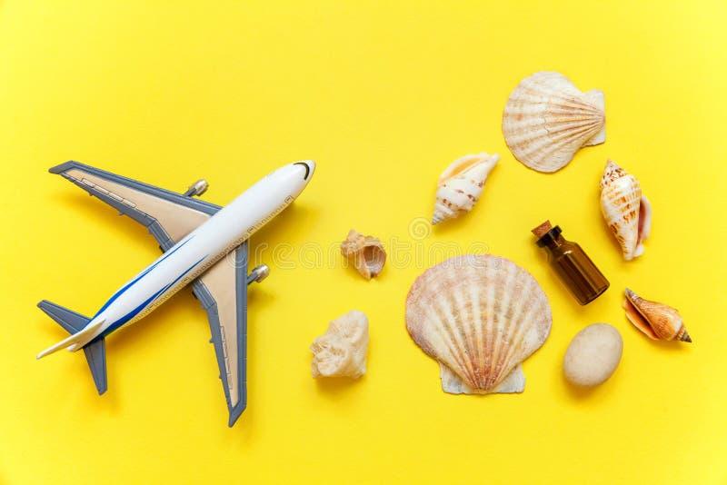 Seashells и самолет на желтой предпосылке стоковое изображение rf