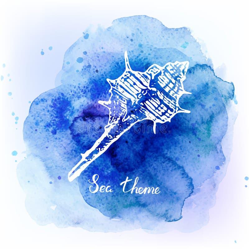 Seashells на предпосылке сини акварели солнце моря луча fiords предпосылки также вектор иллюстрации притяжки corel иллюстрация вектора