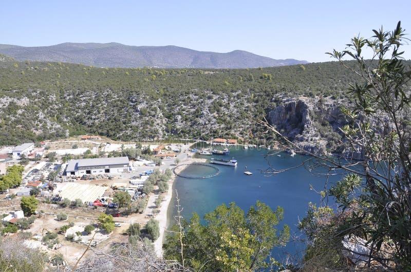 Seashells обрабатывают землю для культивировать в Эгейском море в Греции стоковая фотография