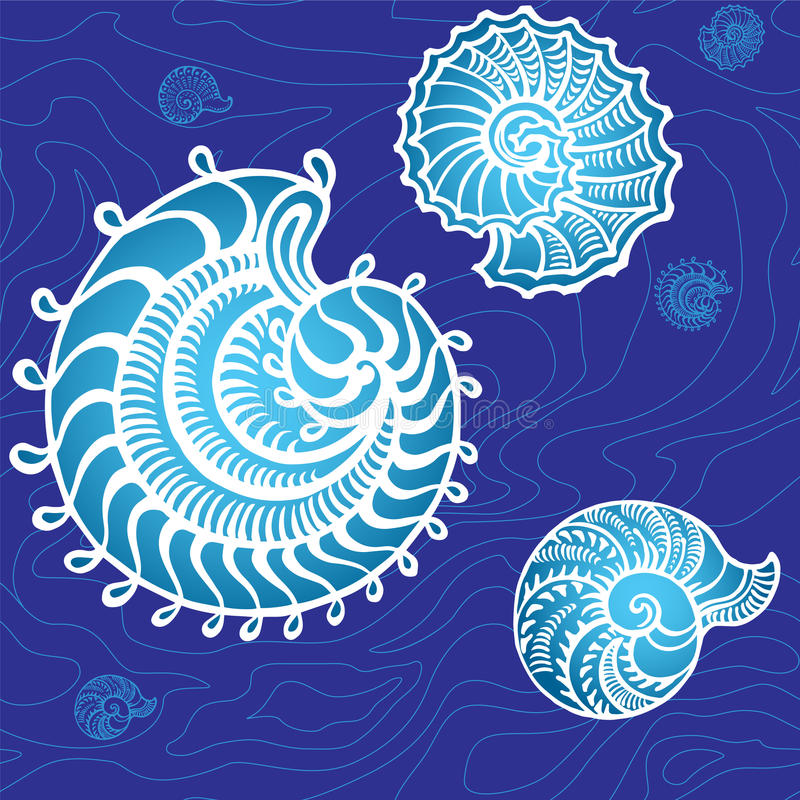 Seashells on a background. Seamless underwater graphic seashells on a background royalty free illustration