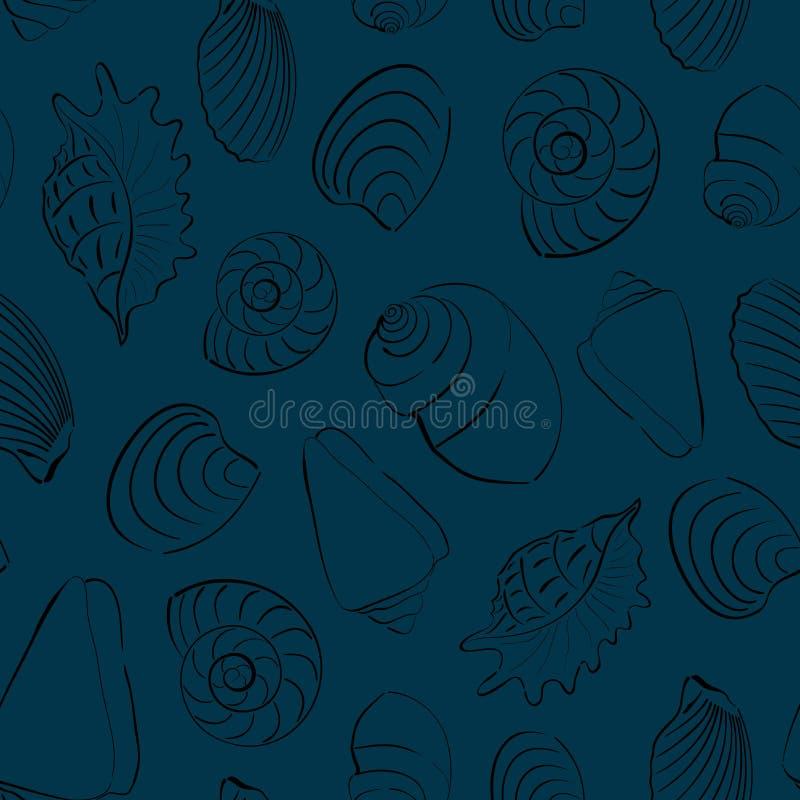 Seashells blue seamless background. Marine and underwater themes stock illustration